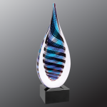 Blue/White/Black Twist Raindrop Art Glass Artistic Glass Awards