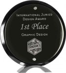 Black Piano Finish Round Acrylic Standup Circle Awards