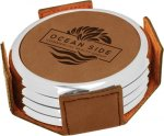 Leatherette Round Coaster Set with Silver Edge -Dark Brown  Circle Awards