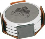Leatherette Round Coaster Set with Silver Edge -Gray Circle Awards