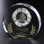Burke Clock Clear Optical Crystal Awards