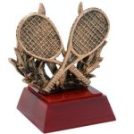 Resin Sculptures -Tennis with Racquets  Color Tek Resin Trophy Awards