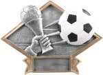 Diamond Plate Resin -Soccer Diamond Plate Resin Trophy Awards