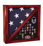 Rosewood Piano Finish Memorabillia and Flag Case Flag Display Case