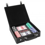 Leatherette Poker Gift Set -Black/Gold Game Gifts