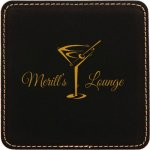 Black Square Leatherette Coaster Kitchen Gifts