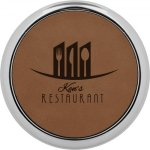 Leatherette Round Coaster with Silver Edge -Dark Brown Kitchen Gifts