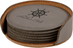 Leatherette Round Coaster Set -Gray  Kitchen Gifts