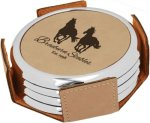 Leatherette Round Coaster Set with Silver Edge -Light Brown Kitchen Gifts
