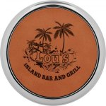 Leatherette Round Coaster with Silver Edge -Rawhide  Kitchen Gifts
