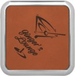 Leatherette Square Coaster with Silver Edge -Rawhide Kitchen Gifts