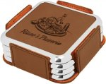 Leatherette Square Coaster Set with Silver Edge -Dark Brown Kitchen Gifts