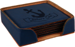 Leatherette Square Coaster Set -Blue Kitchen Gifts