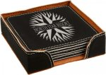 Leatherette Square Coaster Set -Black/Silver Kitchen Gifts
