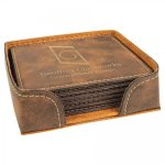 Leatherette Square Coaster Set -Rustic/Gold Kitchen Gifts