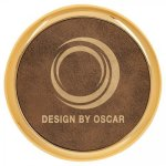 Leatherette Round Coaster with Gold Edge -Rustic/Gold  Kitchen Gifts