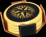 Black Leatherette Round Coaster Set with Gold Edge Misc. Gift Awards