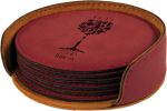 Leatherette Round Coaster Set -Rose' Misc. Gift Awards