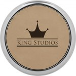 Leatherette Round Coaster with Silver Edge -Light Brown Misc. Gift Awards