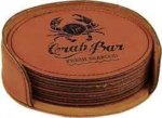 Leatherette Round Coaster Set -Rawhide Misc. Gift Awards