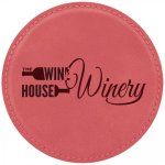 Leatherette Round Coaster -Pink Misc. Gift Awards