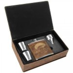 Leatherette Flask Set -Rustic/Gold Misc. Gift Awards