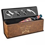 Leatherette Wine Box with Tools -Rustic/Gold Misc. Gift Awards
