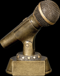 Gold Microphone Award Misc. Resin Trophy Awards