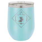 Double Wall Insulated Stainless Steel Stemless Wine Glass -Light Blue Promotional Mugs