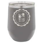 Double Wall Insulated Stainless Steel Stemless Wine Glass -Dark Gray Promotional Mugs