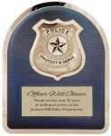 Police Badge on Blue Background Hero Plaque Recognition Plaques