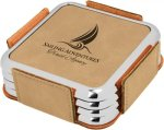 Leatherette Square Coaster Set with Silver Edge -Light Brown  Square Rectangle Awards