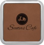 Leatherette Square Coaster with Silver Edge -Dark Brown Square Rectangle Awards